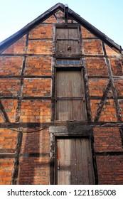 Lüneburg, Lower Saxony, Germany, October 11, 2018. Close Up of a Historic Warehouse Façade