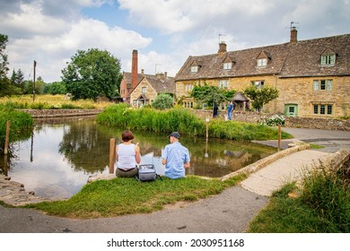 Lower Slaughter 29 July 2021 Uk. Village in the Cotswold district of Gloucestershire,The mill is built of red brick, most of the 16th and 17th century homes in the village use Cotswold limestone.