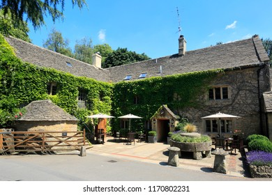 Lower Slaughter village, Gloucestershire Cotswolds, England, UK JULY 5th 2018 The Slaughters Country Inn Hotel,
