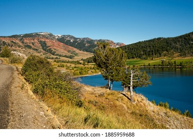 Lower Slide Lake, Wyoming, about 20 miles east of Grand Teton National park. The lake was formed in 1925 when a massive landslide dammed up the Gros Ventre River.