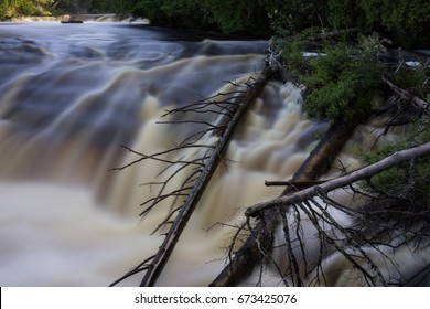 Lower Tahquamenon Falls with fallen tree trunks