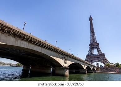 Lower view of Pont d'Iena and Tour Eiffel in Paris, France