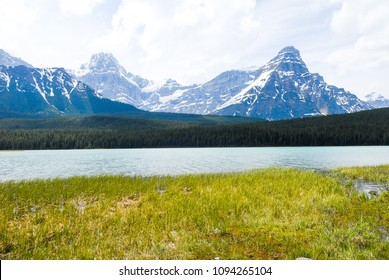 Lower Waterfowl Lake and Mt Chephren in the Spring, Banff National Park, Canadian Rockies, Alberta, Canada