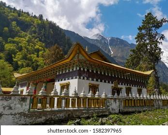 Lower Yubeng monastery in Meili Snow Mountain (Kawa Karpo) range in Deqin, Yunnan Province, South China.