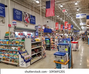 Lowe's home improvement store cashier check out lanes, merchandise aisles, Peabody Massachusetts USA, May 5, 2018