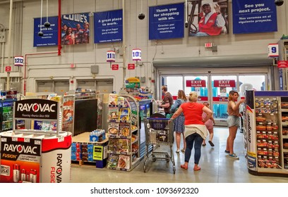 Lowe's home improvement store check out cash register counter customers,  Peabody, Massachusetts USA, May 5, 2018