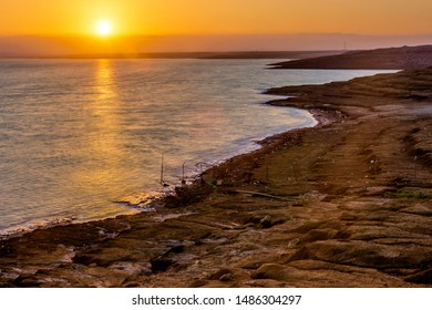 The lowest point in the world altitude the Dead Sea sunset in Jordan Middle East