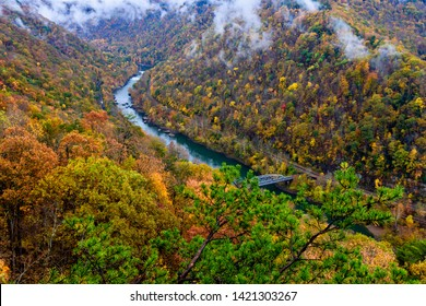 Low-hanging clouds, New River Gorge, New River Gorge National River, Fayette County, West Virginia, USA