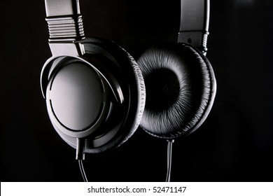 the low-key photo of a stereo headphones