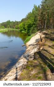 Lowland Nida river, landscape of the Nida Valley, Poland