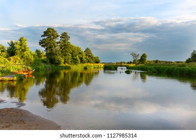 Lowland Nida river, landscape of the Nida Valley, Poland.