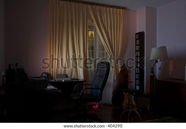 low-lit room