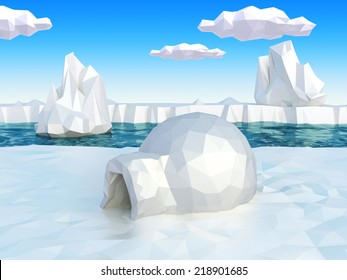 Lowpoly artic landscape with igloo