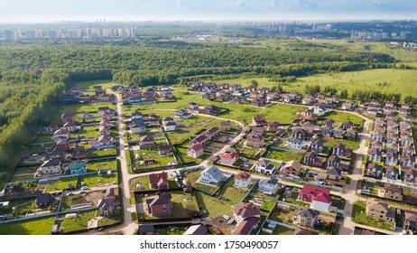 low-rise houses in the cottage village of Ankudinovka in Nizhny Novgorod