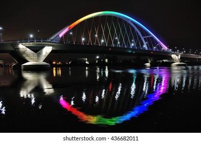 Lowry Avenue Bridge in Minneapolis lit in Rainbow Colors in Honor of Orlando Victims