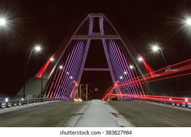 Lowry Avenue Bridge in Minneapolis, Minnesota at Night With Taillights