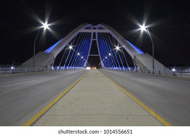 Lowry Avenue Bridge at night in Minneapolis, Minnesota, USA.
