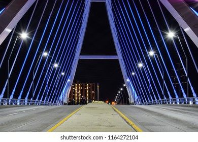 Lowry Bridge in Minneapolis, Mn at night. Long exposure taken from street perspective