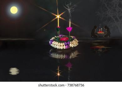 Loy krathong day, Thailand festival and traditionv Adjustment image for background