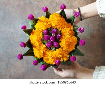 Loy Krathong Festival in Thailand theme female hand holding eco friendly lotus shaped banana leaves vessel or Krathong contained yellow, purple flowers and water hyacinth stem on rustic background.