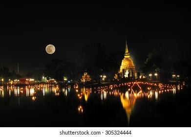 Loy Kratong Festival at Sukhothai Historical Park, Sukhothai (Thailand)
