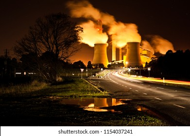 Loy Yang brown coal power station at night, located in the Latrobe Valley, Victoria Australia