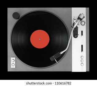 LP player isolated on black background