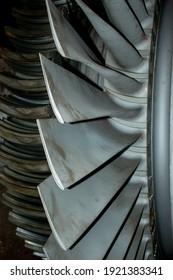 LP Turbine blade on shaft, closeup view. 2nd Last stage of blades.