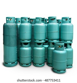 LPG cooking gas cylinders Consumers, Natural gas tank, medium and large household appliances and restaurants. Photo isolated on white background with clipping path.