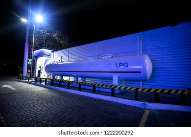 A LPG station in blue night colors with nobody in background