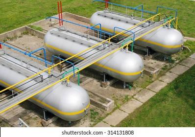 LPG tank farm. Refinery, gas plant