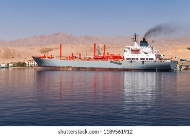 LPG tanker loading in new port of Aqaba, Jordan