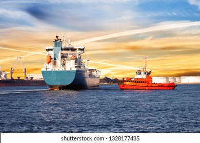 LPG Tanker in port of Gdansk at sunrise.