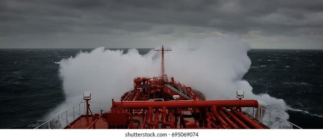 LPG tanker sailing through the stormy sea.