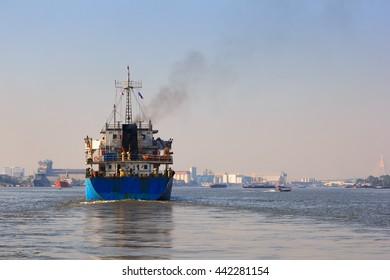 LPG Tanker Ship on the Chao Phraya River , Bangkok , Thailand