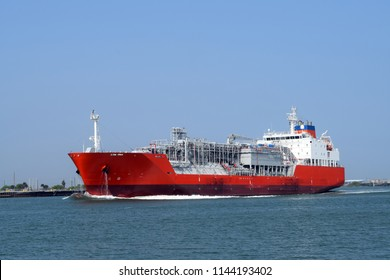LPG tanker underway in Port Aransas, Texas, USA. Names, logos, and identifying marks removed.