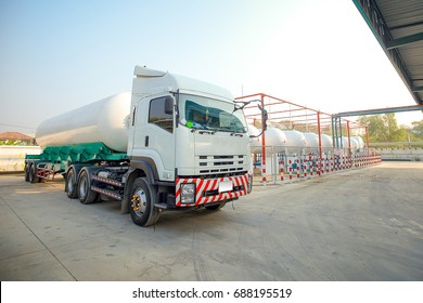 LPG transferring truck was transferring some LPG or Liquefied Petroleum Gas with danger sign.