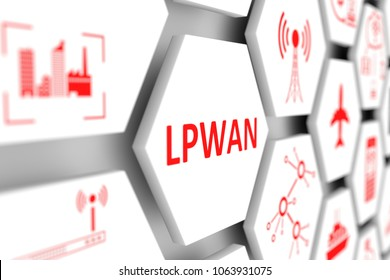 LPWAN concept cell blurred background 3d illustration
