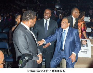 (L-R) Atlanta Major Kasim Reed, Andrew Young and Anthony Anderson at the 2017 Andrew Young International Leadership Awards & 85th Birthday Tribute on June 03rd, 2017 Atlanta, Georgia at Philips Arena