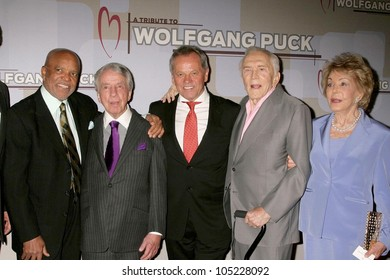 L-R Berry Gordy, Norman Brokaw, Wolfgang Puck, Kirk Douglas and Anne Buydens   at the Heart Foundation gala honoring Wolfgang Puck. The Beverly Wilshire Hotel, Beverly Hills, CA. 05-30-09