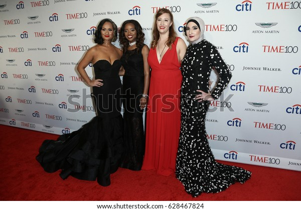 (L-R) Carmen Perez Tamika Mallory, Bob Bland and Linda Sarsour attends the Time 100 Gala at Frederick P. Rose Hall on April 25, 2017 in New York City.