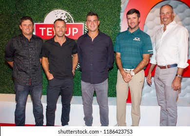 (l-R) Matt Kuchar, Bubba Watson, Gary Woodland, Patrick Reed Paul Casey - Tee Up Atlanta at the College Football Hall of Fame in Atlanta Georgia - USA , September 17th 2018- The Tour Championship PGA