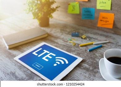 LTE, 4G, 5G Fast wireless internet connection, Telecommunication and technology concept.