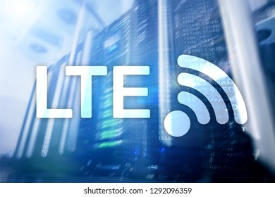 LTE, 5g wireless internet technology concept. Server room