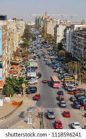Luanda, Angola - 2009: Aerial of Angola capital city Luanda busy streets