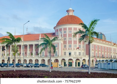 LUANDA, ANGOLA - APRIL 28 2014: The National Bank of Angola or Banco de Nacional de Angolawith colonial architecture in capital