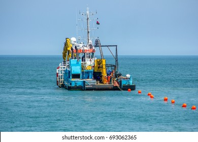 Luanda, Angola, August 09, 2017: SACS boat that will land with submarine cable, at Angola Cables SACS event that will connect Angola and Brazil with submarine cable. Submarine cable launch today.