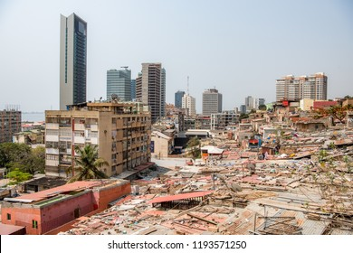 Luanda Angola city view, slums and high-rise buildings in capital city of Angola. Luanda expensive city in West-Africa. Poverty poor neighbourhood