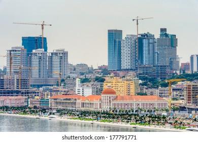 LUANDA, ANGOLA - MAR 4, 2013: Panorama of Luanda, formerly named Sao Paulo da Assuncao de Loanda, is the capital of Angola. Luanda is both Angola's chief seaport and its administrative center.