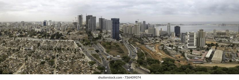 LUANDA, ANGOLA – OCTOBER 17, 2017: Aerial view of downtown Luanda, Angola